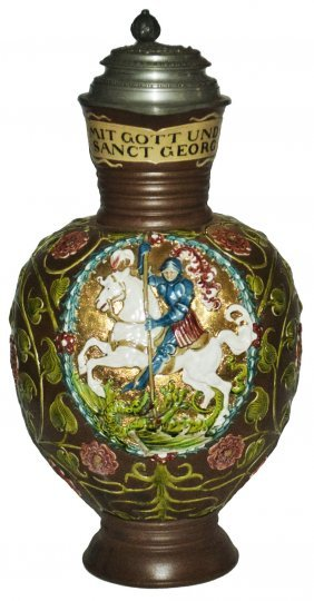 5 L St George Slaying Dragon Mettlach Stein
