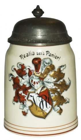 Dueling Fraternal Shield Porcelain Relief Stein