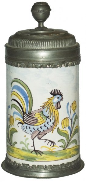 Large Rooster Cica 1760 Ansbach Faience Stein