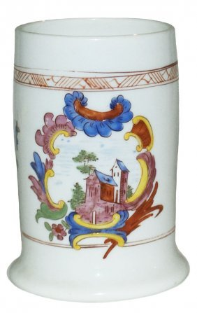 Circa 1780 Blown Milk Glass Stein W Enamel House