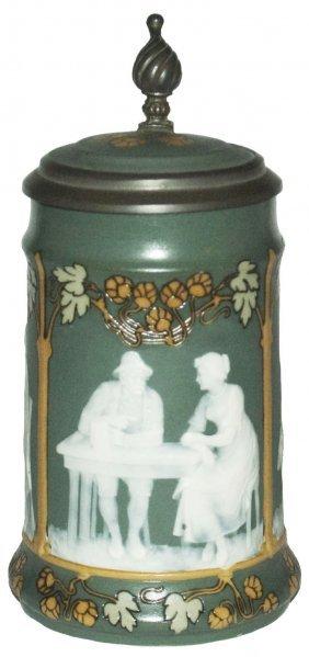 Art Nouveau Cameo Mettlach Stein W 3 Drink Scenes