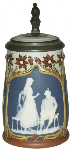 Art Nouveau Style Mettlach Cameo Stein W Inlay