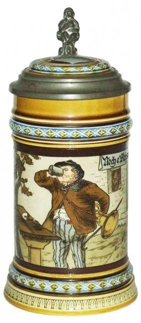 Drinking Musician Mettlach Stein W Inlay Lid