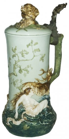 Pate-sur-pate Nude Woman & Stag Stein W Dog Finial