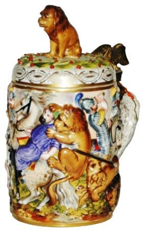 Capo-di-monte Battle Scene Stein W Lion Finial