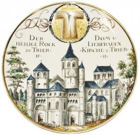 Trier Church That Has Christ Robe Mettlach Plaque