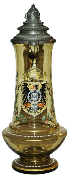 2l Imperial Eagle Shield Glass Stein W Fancy Lid