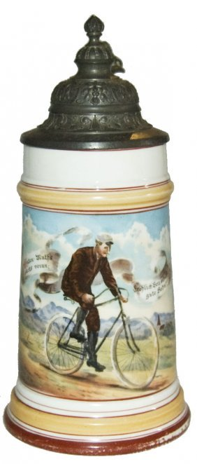 Man On Bicycle Porcelain Stein