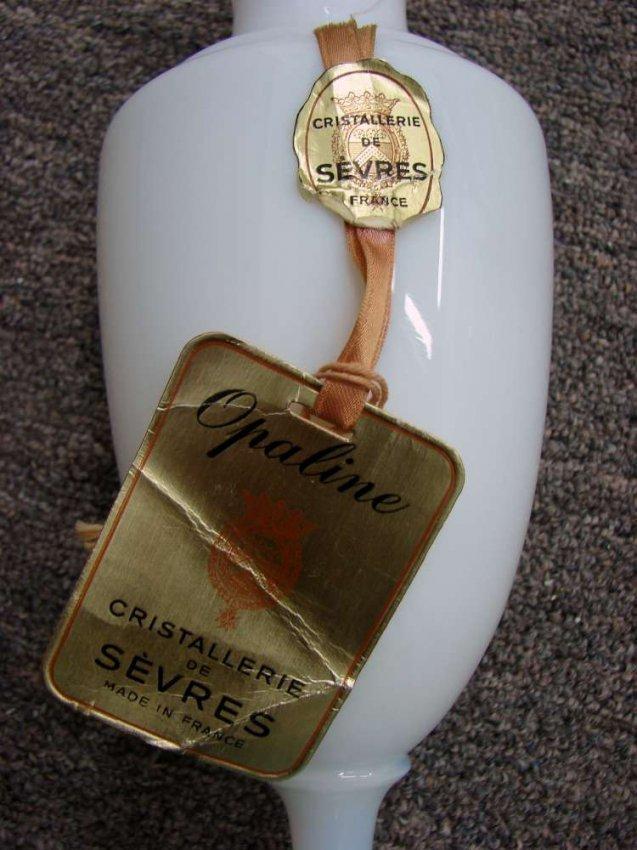 215 Sevres Crystal White Opaline Vase Lot 215