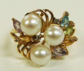 10K Gold Natural Pearls Ring