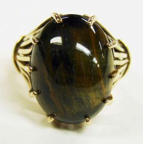 10K Gold Cabochon Cat's Eye Ring