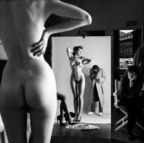 Helmut Newton Self Portrait With Wife And Models,