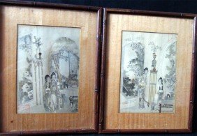 Lot Of Two Framed Antique Chinese Watercolors