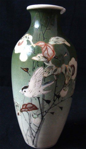 Japanese Porcelain Vase Birds On Green Background