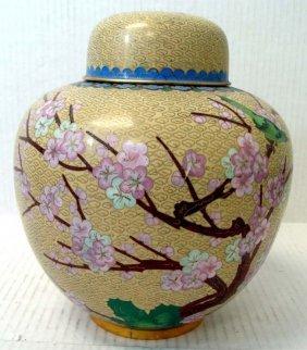 Chinese Cloissone Ginger Jar Vase Cherry Blossom Design