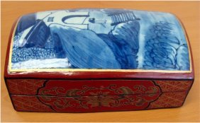 Chinese Porcelain Wood Enameled Large Jewelry Box