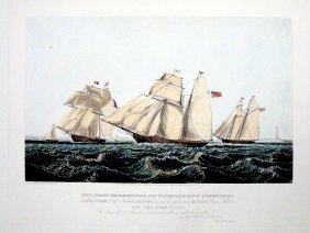 "The Waterford Line Schooners London Engraving 24""X30"""