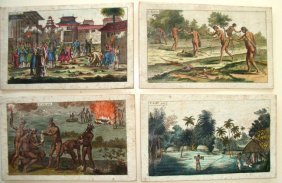 Lot Of 4 Medical Student Study Cards Circa 1790