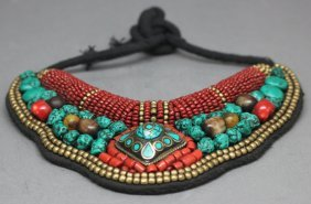 Nepalese Bead Necklace Turquoise Nuggets Coral
