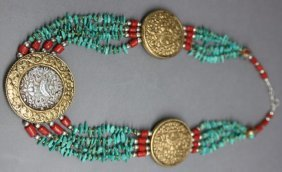 Ornate Nepal Tibet Silver Necklace W Turquoise Nuggets