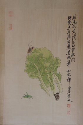 Chinese Pen & Ink Scroll Painting Cabbage With Crickets