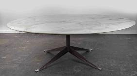 "LARGE 82"" ROUND KNOLL MARBLE TOP TABLE"