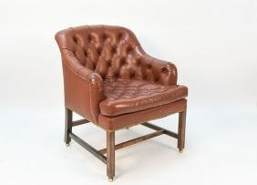 LEATHER BUTTON TUFTED ARM CHAIR