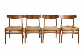 (4) Hans Wegner Ch23 Danish Modern Side Chairs