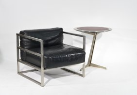 Santiago Calatrava Style Lounge Chair & Side Table