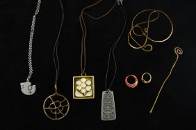 Grouping Of Mixed Metal Mid-century Jewelry