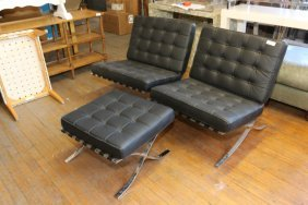 Pair Of Reproduction Black Barcelona Style Chairs