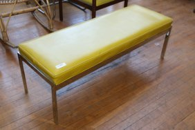 Chrome Upholstered Bench In The Manner Of Milo