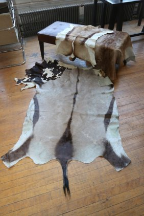 Upholstered Bench With Assorted Hide Rugs