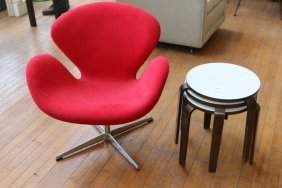 Attr. to Jacobsen swan chair & nesting tables
