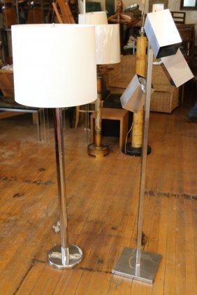 (2) Chrome Floor Lamps In The Manner Of Sonneman