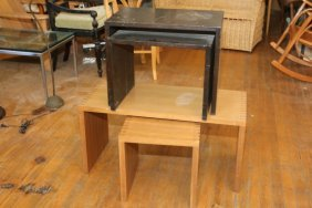Four Occasional Wooden Tables With Dovetail Detail