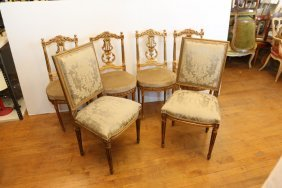 Six French Gilt Decorated Chairs Four Matching