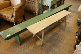 Long Bench With Green Paint