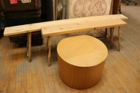 Unfinished Wooden Benches & Round Table