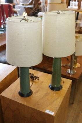 Pair Of Green Cylindrical Pottery Lamps.