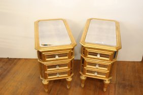 Pair Of Gold Gilt Mirrored End Tables.