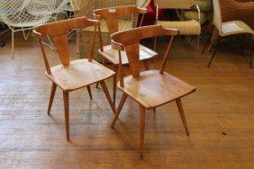 Four Paul Mccobb Chairs Blonde