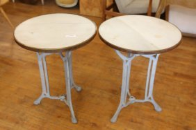 Pair Of Marble Top Iron Base Tables
