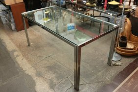 Chrome Dining Table Manner Of Milo Baughman