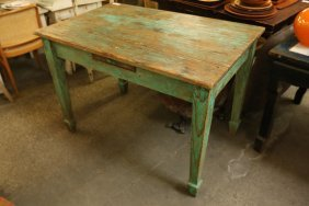 Green Painted Pine Work Table.