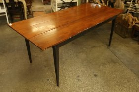 Wood Black Painted Legs Three Top Plank Dining