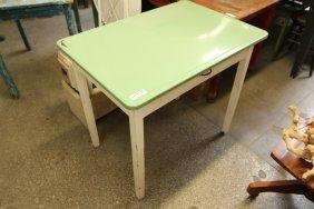 Green Enamel Top Table.