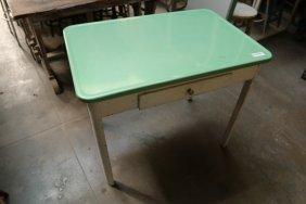 Green Enamel Top Single Drawer Table.