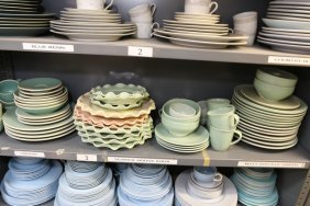 Grouping Of Blue And Aqua Porcelain And Pottery.