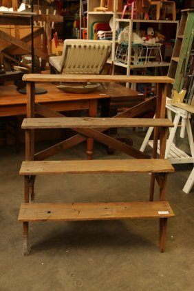 Vintage Pine Display Ladder Shelf